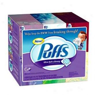 Puffs Ultra Soft & Strong Facial Tissues, 6 Box3s (124 Count Each)