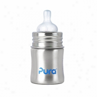 Pura Kiki Stainless Steel Infant Botle With Slow Flow Nipple (5oz), Natural