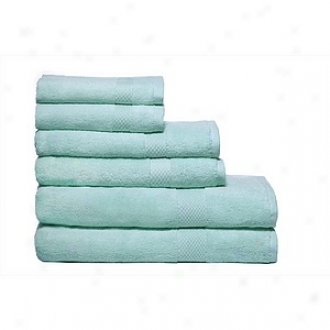 Pure Fiber Organic Combed Cotton Bath Towel 6 Pcs Set, Blue