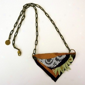 Rachel Paula Lace And Leather Collage Necklace