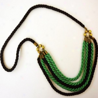 Rachel Paula Turquoise And Black Silk Rope Nscklace