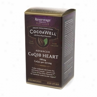 Reserveage Organics Cocoawell Advanced Coq10 Heart, Vegetarian Capsules