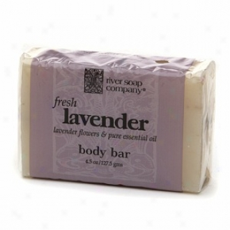 River Soap Company All Vegetable Body Bar Soap, Fresh French Lavender
