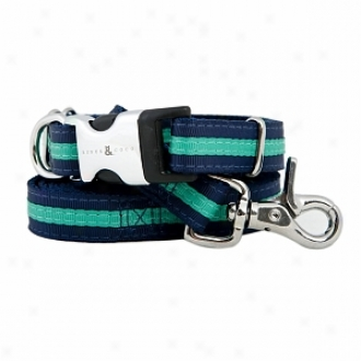 Rufus & Coco Bronte-stylish Striped Nylon Harness Small-medium, Navy And Green