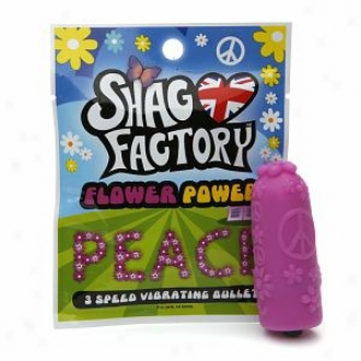 Shag Factory Flower Power 3 Speed Vibrating Bullet, Peace/purple