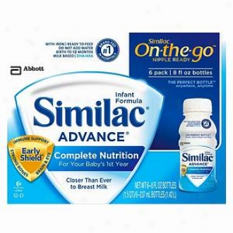 Similac Advancd On-the-go Infant Formula, Ready To Feed, 8 Oz Bottles