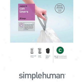 Simplehuman Custom Fit Trash Can Liner C, 10-12 Liters / 2.6- 3.2 Gallons, Liner C, 2.6- 3..2 Gallons, 20 Ea
