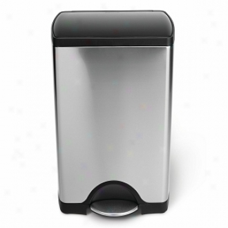 Simplehuman Rectangular Step Trash Be able to, Brushed Stainless Steel, 38 Liters /10 Gallons