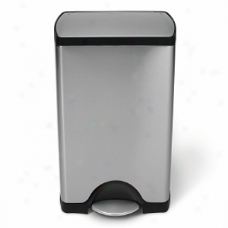 Simplehuman Rectangular Step Trash Can, Fingerprint-proof Brushed Stainless Steel, 38 Liters /10 Gallons
