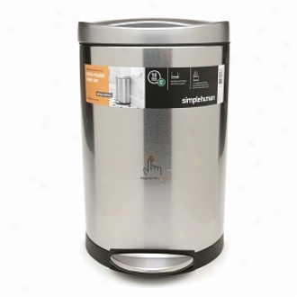 Simplehuman Semi-round Step Can, 10 Liter, Stainleesss Steel
