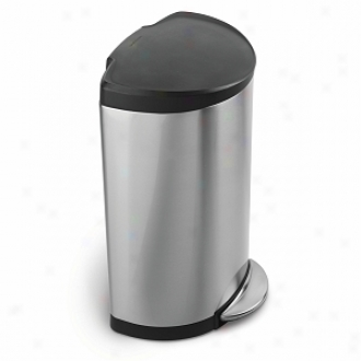 Simplehuman Semi-round Step Trash Can, Brushed Stainless Steel, 40 iLters / 10.5 Gallons
