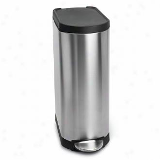 Simplehuman Slim Step Trash Can, Brushed Stainlews Steel, 35 Liters / 9 Gallons