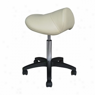 Sivan Health And Fitness Pneumatic, Hydraulif Adjustable, Rolling Saddle Masswge Stool, Beige
