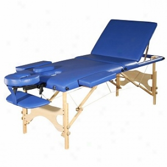 Sivan Health And Fitness Three Fold Reiki Portable Massage Table And Carrying Case, Blue