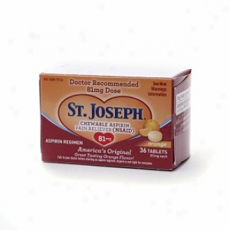 St. Joseph Chewable Aspirin Pain Reliever, 81mg, Tablets, Orange
