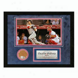 Steiner Sports Boston Red Sox 08 Am Leagie Mvp Dustin Pedroia Mini Fenway Park Dirt Collage