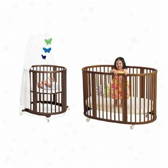 Stokke Sleepi Scheme I Crib Plus Mini Bassinet, Walnut