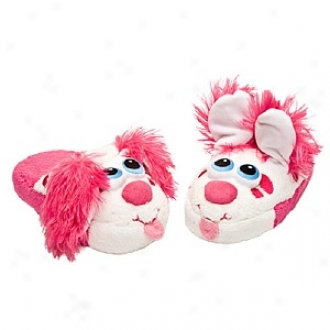 Stompeez Perky Pink Puppy Slippers Small Kids/tweens, Medium - Usa Size 11.5-4