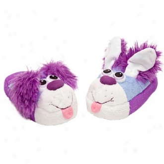 Stompeez Playful Blue Puppy Slippers Small Kids/tweens, Medium - Usa Size 11.5-4
