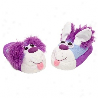 Stompeez Playful Blue Puppy Slippers Walkers/toddlers, Smakl - Usa Size 5-11