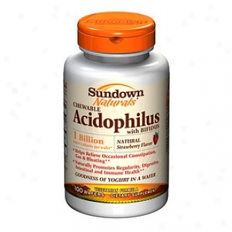 Sundown Naturals Chewable Acidophilus Through  Bifidus,_Wafers, Strawberry