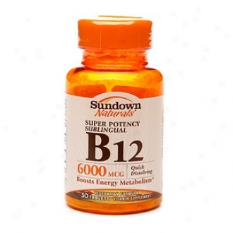 Sundown Naturals Super Potency Sublingual B12, 6000mcg, Tablets