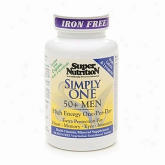 Super Nutrition Merely One 50+ Men High Energy One-per-day Vegetarian Iron Free Tablets