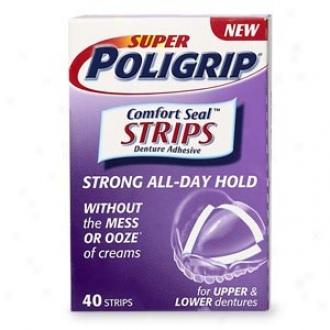 Super Poliggrip Denture Adhesive, Comfort Seal Strips