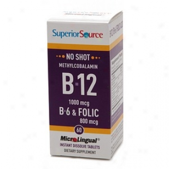 Superior Source No Shot Methylcobalami B12/b6/folic Acid 800mcg, Disolve Tablets