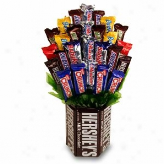 Sweets In Bloom Chocolate Indulgence - Hershey Base And Candy Bar Bouquet