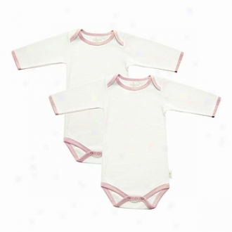 Tadpoles Bodysuits, Long Sleeved Organic Cotton, Pink Trim 6-9mo 2ea