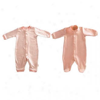 Tadpoles Footed Romper + Fooltess Romper, Salmon, 3-6 Mos