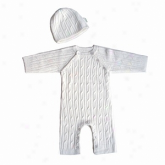 Tadpoles Layette, Long Sleeved Romper And Cap, 3-6mo, Ivory