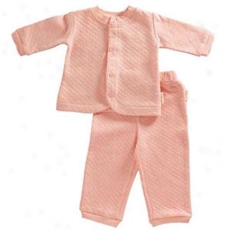 Tadpoles Organic, Double Knit Cotton Cardigan & Pant Set, Salmon, 0-3 Mos
