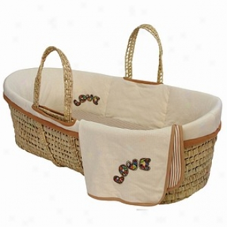 Tadpoles Organic Moses Basket Set In the opinion of Love Embroidery, Natural
