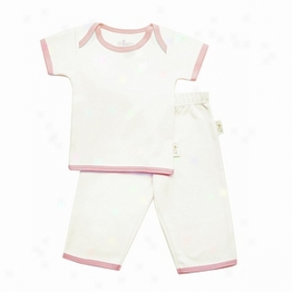 Tadpoles Pant And Top Set, Short Sleeved Organic Cotton, Pink Trim 3-6mo