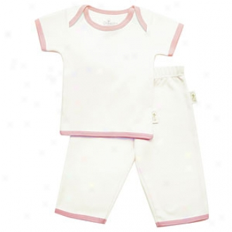 Tadpoes Pant And Top Set, Short Slerved Organic Cotton, Pink Trim 0-3mo