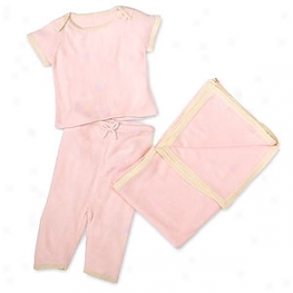 Tadpoles Pashmina Gift Set, 3 Piece Top, Pants, Blanket, Pink 0-3mo