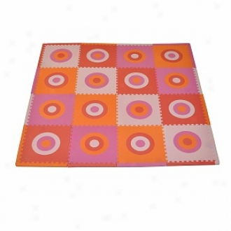 Tadpols Playmat Set Circles Squared 16pc, Pink And Orange
