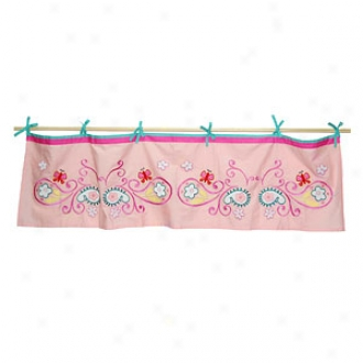 Tadpoles Valance, Tie Top,  Embroidered, Buttsrfly And Paisley Coordinated
