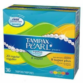 Tampax Pearl Tampons With Plastic Applicator, Unscented, Multi Pack, Super Plus/super/reg, 20 Ea