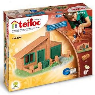 Teifoc Barn House Brick Conxtruction Set - 187 Pc. Ages 6+