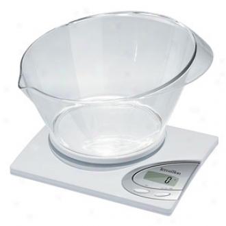 Terraillon Linear Vocal 6.6 Pound Digital Kitchen Scale Attending Bowl, White
