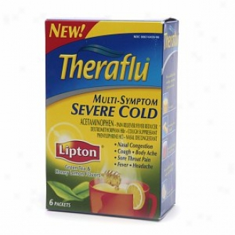 Theraflu Multi-symptom Severe Apathetic Packets, Lipton Green Tez & Honey Lemon Flavors
