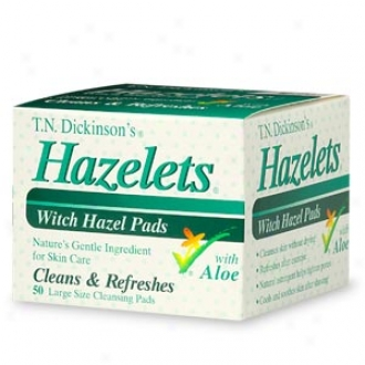 T.n. Dickinson's Hazelets Witch Hazel Pads With Aloe, Large Size Cleansing Pads