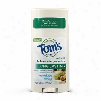 Tom's Of Maine Men's Long Lasting Natural Aluminum & Pg Free Deodorant Stick, Mountain Spring