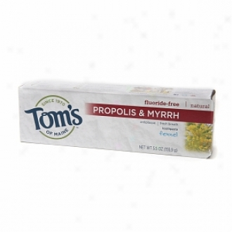Tom's Of Maine Propolis & Myrth Natural Fluoride Freee Toothpaste, Fennel