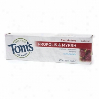 Tom's Of Maine Propolis & Myrrh Natural Fluoride Free Toothpaste, Cinnamint