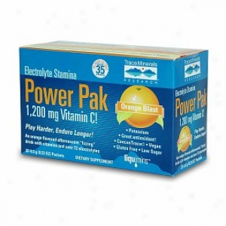 Trace Minerals Research Epectrolyt eStamina Power Pak, 1200mg Vitamin C Packets, Orange Blast