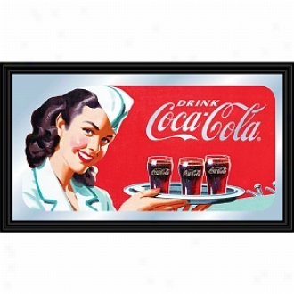 Trademark Global Coca-cola Vintage Mriror Horizontal Waitress W/ Coke